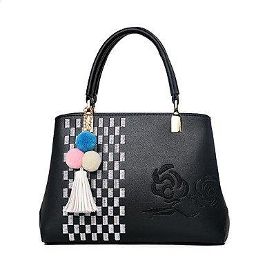 Damenmode Spleißen PU Leder Messenger Umhängetaschen/Handtasche Tote Black