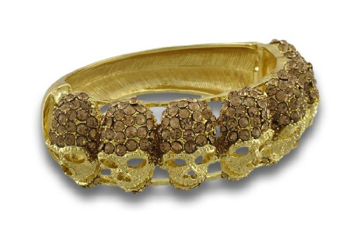 Sparkling Rhinestone Skulls Gold Ton Scharnier Armreif Armband