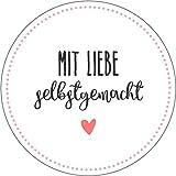 wolga-kreativ 72 Aufkleber Geschenkaufkleber'mit Liebe selbstgemacht' Punkte Handmade Homemade...