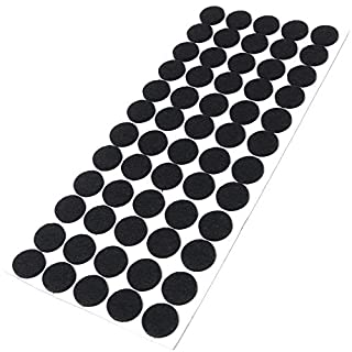 Adsamm® | 60 x felt pads | Ø 0.79'' (Ø 20 mm) | black | round | self-adhesive furniture glides with felt thickness of 0.138''/3.5 mm in top-quality by Adsamm®
