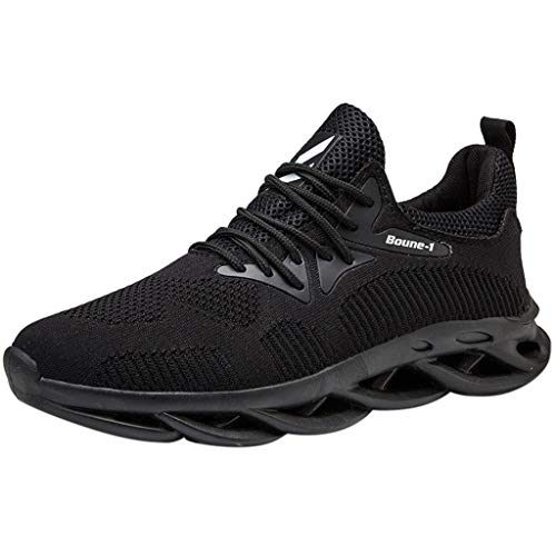 LILIGOD Herren Breathable Freizeitschuhe Fly Knit Leichte Turnschuhe rutschfeste Wild Running Schuhe Weicher Boden Bequem Laufschuhe Gym Fitness Fitnessschuhe Straßenlaufschuhe -