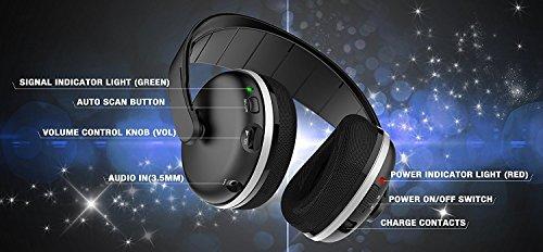 TV Funk Kopfhörer, Jelly Comb Funkkopfhörer mit Lautstärke-Regler, Multifunktions-Ladestation für TV und alle Ihre Multimedia-Gerät - 5