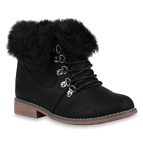 Damen Schuhe Schnürstiefeletten Stiefel Gefütterte Fell Stiefeletten 147482 Schwarz Amares 39 Flandell