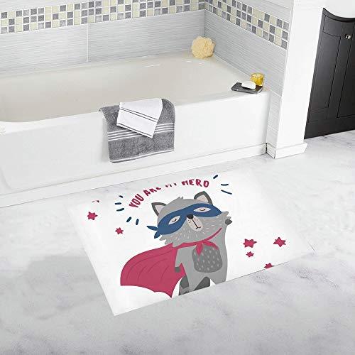 LMFshop Süße Waschbär Superheld Kostüm Sie Meine benutzerdefinierte rutschfeste Badematte Teppich Bad Fußmatte Boden Teppich für Badezimmer 20 X 32 - Niedliche Waschbär Kostüm