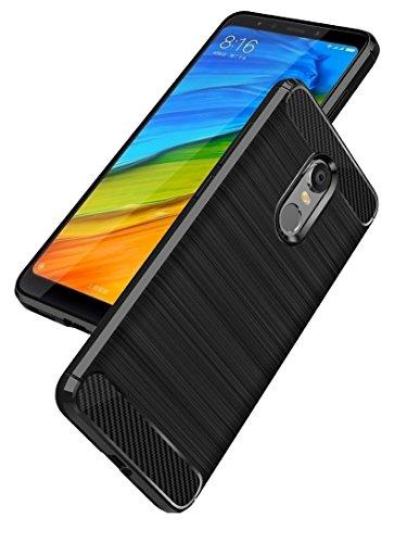 Bracevor Xiaomi Redmi 5 Back Cover Case | Carbon Fiber TPU Flexible Shockproof | Brushed Rugged Armor - Black