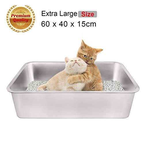 You toilette per gatti,lettiera aperta per gatti, lettiera per gatti grandi toilette per gatti acciaio inossidabile ,adatto a conigli, gatti, cani(60 * 45 * 15cm