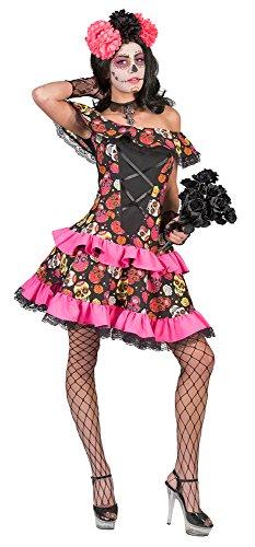 Kleid Muerto mit Rüschen für Damen - Schwarz Gr. 40 (Dia De Für Halloween Muertos Kostüm Los)