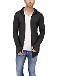 DENIMHOLIC Hooded Cardigan with Thumb Insert for Men (Black) (Anthra, X-Large)