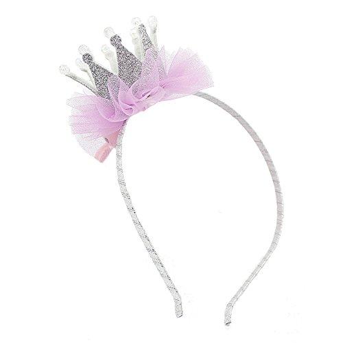 Baby Kleinkind Mädchen Liebenswert Stirnband Funkeln Krone Mit Gaze Haar Band 80Store (Weiß) (Weiß Kegel-party-hüte)