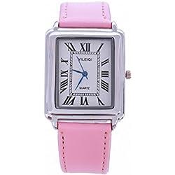 Yileiqi Unisex Men's Women's Silver Bezel White Face Rectangle Dial Pink PU Leather Strap Watch Analog Quartz Hook Buckle Clasp Extra Battery