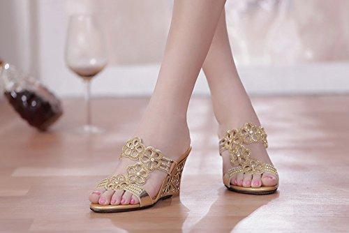 LGK&FA Estate Donna Sandali primavera ed estate sandali sandali di cuoio in cristallo di diamante con il diamante scarpe con punta di pendenza pantofole 34 blu 37 gold