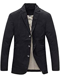 Allthemen Mens Casual Blazer Slim fit Long Sleeve Jacket Washed Cotton  3-Button Casual Suits 65bafc350ab