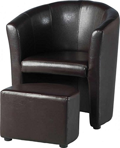 Tempo Tub Chair with Footstool in Expresso Brown PU