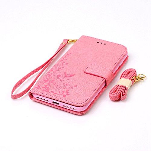 iPhone 7 Plus Hülle, iPhone 7 Plus Neo Hülle Case, iPhone 7 Plus Leder Brieftasche Hülle Case,Cozy Hut iPhone 7 Plus Leder Hülle iPhone 7 Plus Ledertasche Brieftasche Schutz Handytasche mit Standfunkt rosa Blume