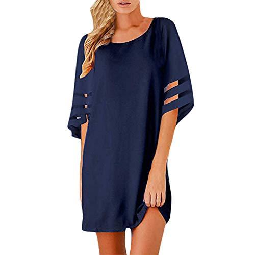 Damen Kurzarm Einfarbig Chiffon Kleid  2019 Sommer Freizeit Elegant Unregelmässig Knielang Unterrock Kleid (L, Marine)