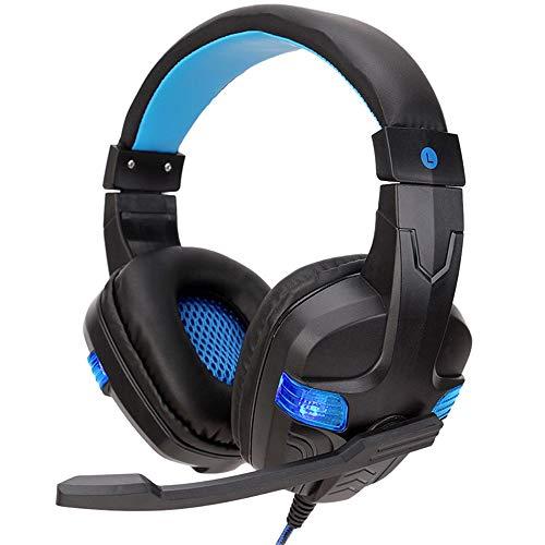 Fcostume USB-Kabel-3,5mm-Gaming-Headset-Kopfhörer mit Mikrofon für PC-Laptop-Telefon (Blau)
