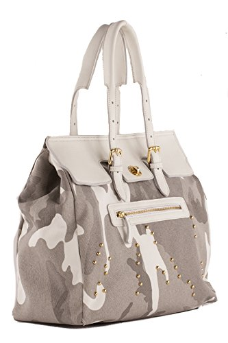 Anna Cecere - Borsa/Shopping in canvas con rifiniture in vera pelle e decorazioni con borchie oro - Made in Italy - Camouflage