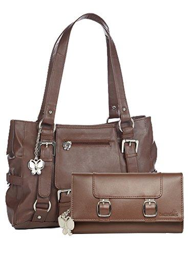 Butterflies Women's Handbag and Wallet Combos' (Tan) (BNS WB0258)
