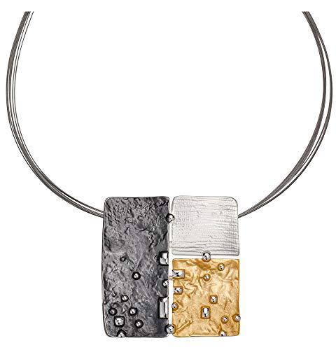 Perlkönig Kette Halskette | Damen Frauen | Silber Gold Schwarz Farben | Stahlband | Tricolor | Nickelfrei