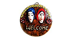 Adhiraj Arts Handmade Couple welcome Wall Hanging 2,Dental Plast(6)Inch