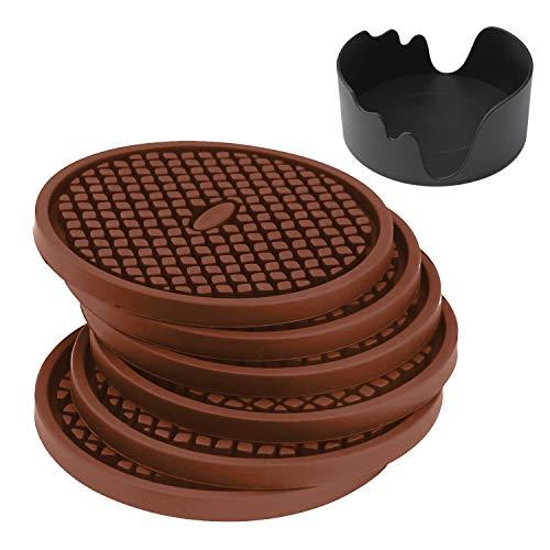 Schwarz-kaffee-tisch-set (IPHOX Silikon-Untersetzer - 6 Stück, schwarz, Glasuntersetzer-Set für Bar, Alle Tische, Wohnzimmer, Küche Getränkeuntersetzer - Perfekter Weicher Untersetzer Für Alle Trinkgläser (Coffee))