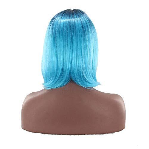 Highlight Frauen Kurze Synthetische Perücken Ombre Haar Für Cosplay Halloween Two Tones Blau 14 Zoll -