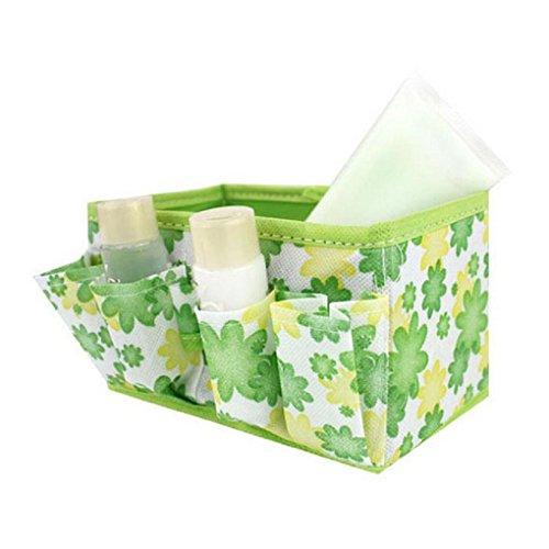 Tefamore Maquillage cosmétique sac de rangement brillant Organisateur Pliable Stationary Container [vert]