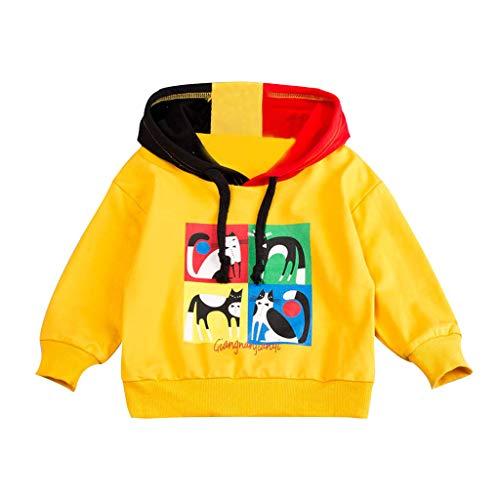 Kleinkind Baby Scherzt Charakter Buchstaben Kapuzenpullover T-Shirt übersteigt Kleidung Kinder Hoodies Sweatshirt für Jungen Mädchen Hoodies Sweatshirt Frühling Herbst Kaputzenpulli (Gelb, 100)