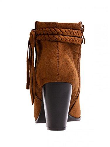 CASPAR SBO063 Bottines à talon et franges vintage pour femme Camel