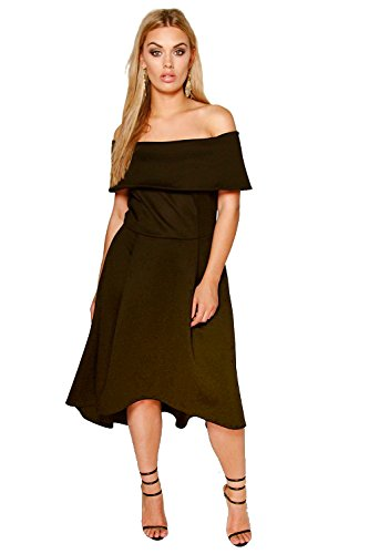 YourPrimeOutlet Black Womens Plus Elizabeth Double Layer Midi Dress