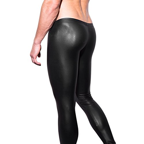 West See Herren Lederhose Leggings Stretch Pants Unterhose Tight WetLook Schwarz (DE M(Etikette L), Schwarz) - 2