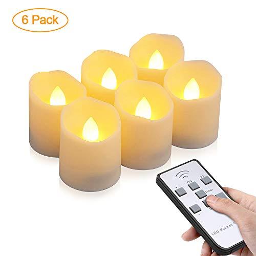 LED Kerzen, otumixx 6 LED Flammenlose Teelichter, Flackern Kerzen, Elektrische Kerze Lichter Fernbedienung mit Timerfunktion Warmweiß Dekoration für Weihnachten, Party, Hochzeit (Batterien Enthalten)