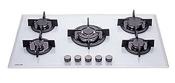 millar gh9051pw plaques de cuisson en verre tremp avec 5 br leurs gaz blanc 90 cm table de. Black Bedroom Furniture Sets. Home Design Ideas