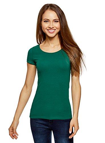 oodji Ultra Damen Tailliertes T-Shirt Basic, Grün, DE 40/EU 42/L