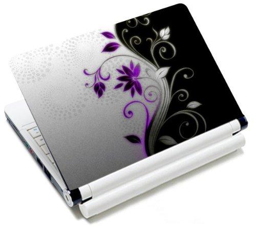 MySleeveDesign Notebook Skin Aufkleber Folie Sticker für Geräte der Größe 10,2 Zoll / 11,6-12,1 Zoll / 13,3 Zoll / 14 Zoll / 15,4-15,6 Zoll mit VERSCH. DESIGNS - Purple Flower