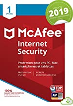 McAfee Internet Security 2019 - 1 Apparei| 1an d'abonnement | PC/Mac/Android/Smartphones [Download Code]
