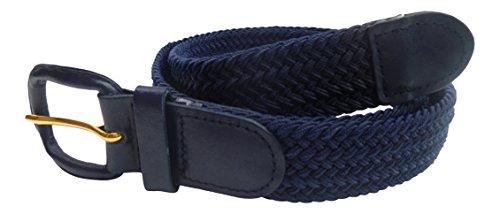 Streeze Cinturón Unisex de correa Trenzada. 6 Tamaños. Elástico Entretejido con Hebilla de Cuero (Azul Marino, M)