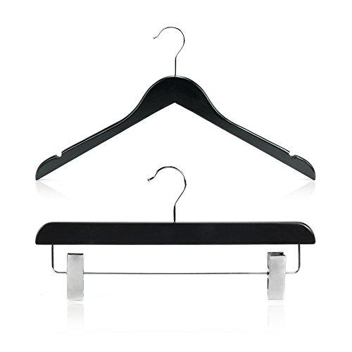 Hangerworld set da 30 grucce in legno nero 45cm per maglieria e pinze in metallo per gonne e pantaloni