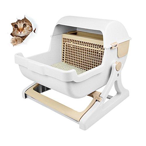 *S Katzentoilette Automatisch,Mit Dem Filter-Gitterfilter Einfach Sauber, Selbst-Sauber Katzen-Sammelbehälter-Wanne*