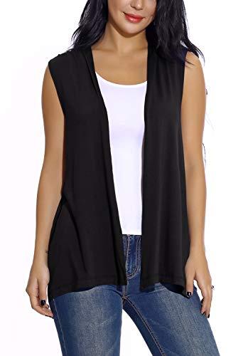 EXCHIC Damen Lässig Armellose Leichte Offene Tunika Weste Strickjacke (L, Schwarz) Shirt Jeans Weste Jacke