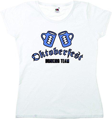 T-Shirt Oktoberfest Wiesn München Junggesellenabschied für Frauen Männer und Kinder in allen Größen XS bis 4XL oder Kinder 104 bis 164 Motiv Nr.04 Damen-Weiß