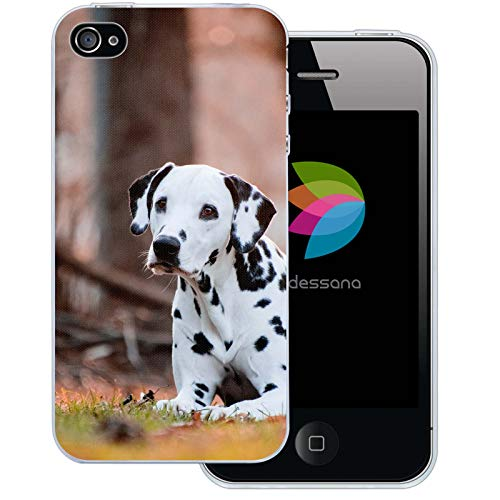 dessana Hunde Transparente Silikon TPU Schutzhülle 0,7mm dünne Handy Tasche Soft Case für Apple iPhone 4/4S Dalmatiner (Hund Silikon Hülle Iphone 4s)