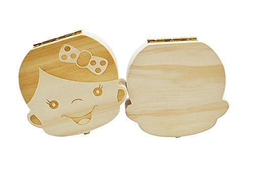 youkara Baby geschnittenen Zähne Box Holz Boxen Personalisierte Souvenir Box, Zähne Souvenir Box 13.5cm*13.5cm*4cm mädchen