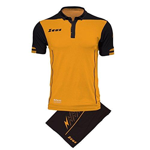 Zeus Kit Aquarius Herren Trikot Shirt Hosen Klein Armel Kit Fußball Hallenfußball (XL, BERNSTEIN-SCHWARZ) DUNKELGRAU-ROT