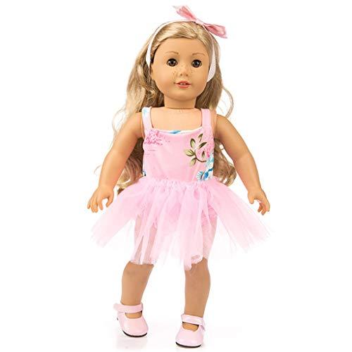 Zolimx Puppenkleidung Anzug Mode Garn Kleid Rüschen Spitzenkleid Karikatur Rock 3 Pc Outfits für American Doll (18 Zoll)