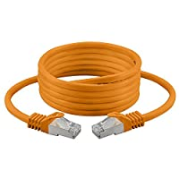 3.0M - Cat. 7 - Ethernet Gigabit Lan Network Cable (RJ45) | 10/100/1000Mbit/s - For Streaming | SUHD Tv | IPTV | Desktop Pc | Servers | Laptops | Network Printers, Halogen Free / 10 Gbs / High Quality | ( Orange )