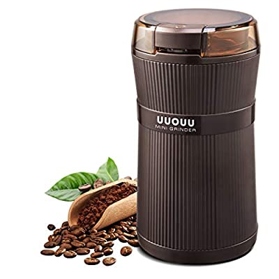 Coffee Grinder with Brush, UUOUU 200W Washable Bowl Spice Grinder with Stainless Steel Blade for Seed Bean Nut Herb Pepper & Grain, Lid Activated Safety Switch, Brown, CG-8320 by LONG PLUS
