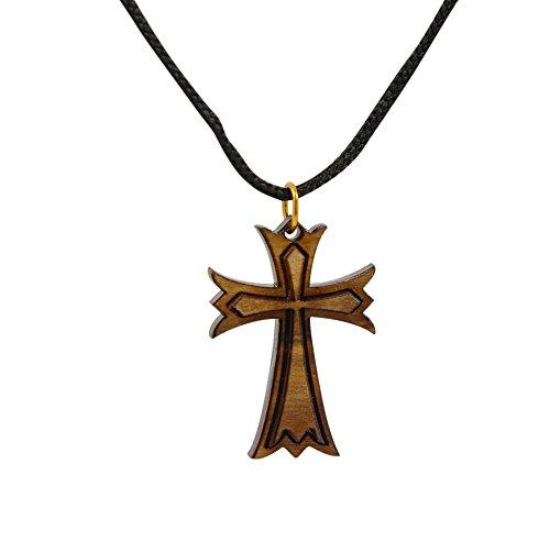 44c3e50886f Amulet Gifts - Colgante de cruz maltesa en madera de olivo de Belén con  cadena de