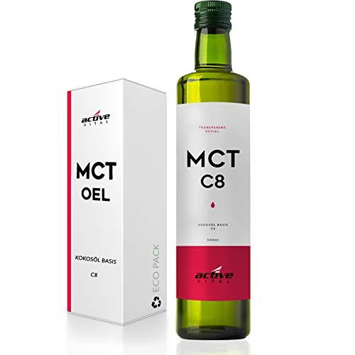 ACTIVEVITAL C8 MCT Öl 500ml Neutral aus Kokosöl | Bulletproof Coffee | Pure Caprylsäure (C-8) | Vegan