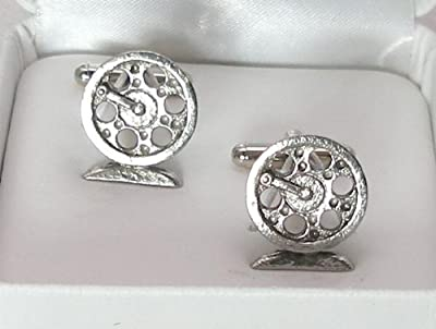Large Fly Fishing Reel Cufflinks in Fine English Pewter from Hoardersworld